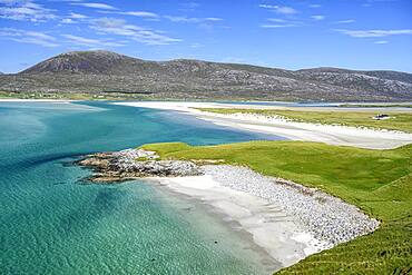 View over Bostadh Beach and Luskentyre Beach, Isle of Harris, Outer Hebrides, Scotland, United Kingdom, Europe
