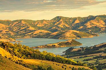 Banks Peninsula at sunset, Oceania, Canterbury, South Island, New Zealand, Oceania
