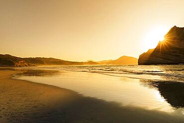 Wharariki Beach at sunset, Oceania, Golden Bay, Tasman, South Island, New Zealand, Oceania