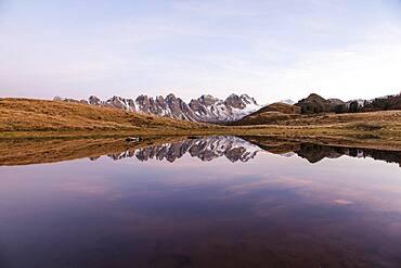 Salfeinersee, Reflection of the Kalkkoegel, Tyrol, Austria, Europe