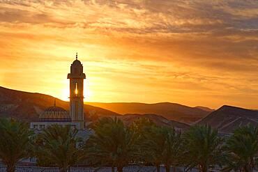 Mosque with palm trees at sunset at Malikia Resort Abu Dabbab, Hilton Nubian Resort, Al Qusair, Marsa Alam, Egypt, Africa