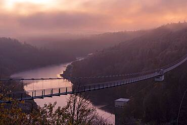 Sunrise at the Rappbode dam, hanging rope bridge, Harz Mountains, Saxony-Anhalt, Germany, Europe