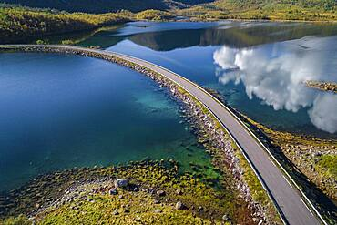 Lonely country road crossing a fjord, Lodingen, Nordland, Lofoten, Norway, Europe