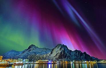 Northern lights in Svolvaer Lofoten Norway