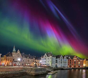 Alsesund Port Northern Lights Norway