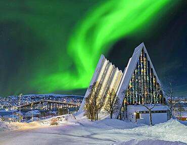 Arctic Sea Cathedral Winter Northern Lights Tromso Norway