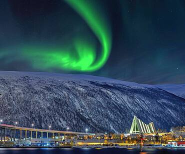 Bridge at the Fjord Arctic Ocean Cathedral Winter Northern Lights Tromso Norway