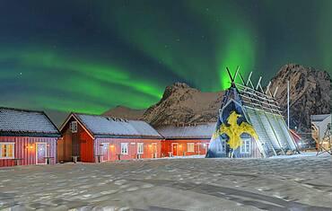 Northern Lights Historic fisherman's cottages Svolva Lofoten Norway