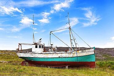 Shipwreck in barren landscape, Hnjotur, Egill Olafsson Museum, Oerlygshoefn, Patreksfjoerour, Patreksfjoerdur, Vestfiroir, Westfjords, Iceland, Europe