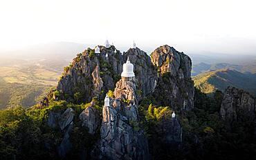Aerial view, Wat Chaloem Phra Kiat Phrachomklao Rachanusorn Temple, Lampang, Thailand, Asia