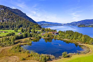 UAV photo, Egelsee in Scharfling behind it Mondsee, Mondseeland, Salzkammergut, Upper Austria, Austria, Europe