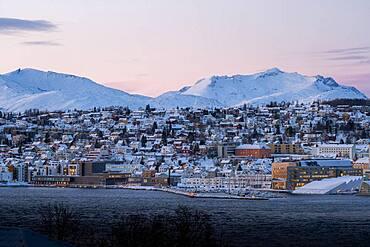 City view at dusk, Tromso, Finnmark, Norway, Europe