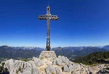 Franz Josef Kreuz am Berggipfel, Berg Katrin, Bad Ischl, Salzkammergut, Upper Austria, Austria, Europe