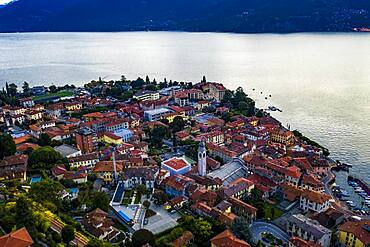 Aerial view, Menaggio in the morning, Lake Como, Lago di Como, Province of Como, Lombardy, Italy, Europe
