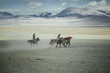 Festival of eagle hunters in Olgii Province, about 20 km from the provincial capital, where different methods of hunting are demonstrated and evaluated, as well as equestrian games and riding new mounts, Kisil Char, Olgii, Mongolia, Asia