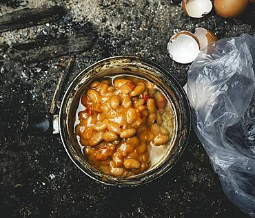 Canned beans, meal in a shelter of a refugee, Belgrade, Serbia, Europe