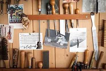 Tools, master violin maker Rainer W. Leonhardt, Mittenwald, Bavaria, Germany, Europe