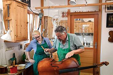 Collaborator and master violin maker Rainer W. Leonhardt, Mittenwald, Bavaria, Germany, Europe