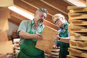 Employee and master violin maker Rainer W. Leonhardt choose wood in the warehouse, Mittenwald, Bavaria, Germany, Europe