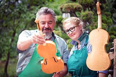 Collaborator and master violin maker Rainer W. Leonhardt, Mittenwald, Bavaria, Germany, Europe