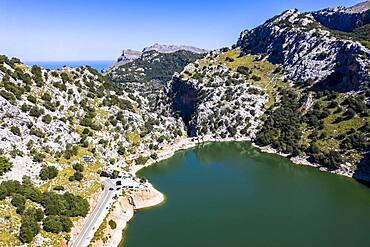 Aerial view of the reservoir, Embalse de Gorg Blau, Tramuntana, Majorca, Balearic Islands, Spain, Europe