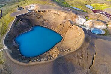 Aerial view of blue lake in the Viti volcano crater at Krafla power plant, Myvatn region, Skutustaoir, Norourland eystra, Iceland, Europe