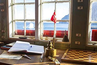 Refuge on the east coast of Greenland, interior view, Fjrod, Norwegian flag, Greenland, Denmark, North America