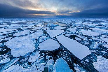 Ice field in the sea, threatening cloud atmosphere, east coast Greenland, Denmark, Europe