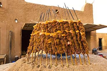 Meat skewers, open fire kebabs, Agadez, Niger, Africa