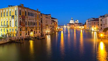 Canal Grande at night, left Renaissance palace Palazzo Cavalli-Franchetti, back church Santa Maria della Salute, Venice, Italy, Europe