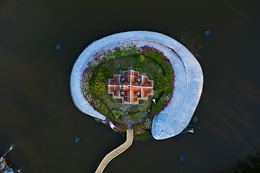 Aerial view, fish-shaped temple from above, Ancient City, Bangkok, Thailand, Asia