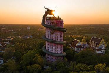 Aerial view, sun in the mouth of a dragon, Wat Samphan dragon temple, Bangkok, Thailand, Asia