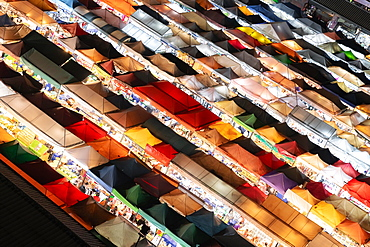 Colourful tent roofs from a night market in Bangkok, Ratchada Train Market, Thailand, Asia