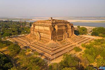 Aerial view, Mingun Pagoda, Mingun, Myanmar, Asia
