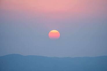 Sunset from the Su Taung Pyae Pagoda, Mandalay Hill, Myanmar, Asia
