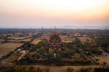 Aerial view, Htilominlo temple at sunset, Bagan, Myanmar, Asia