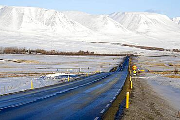 Road in Northern Iceland, Winter, Iceland, Europe