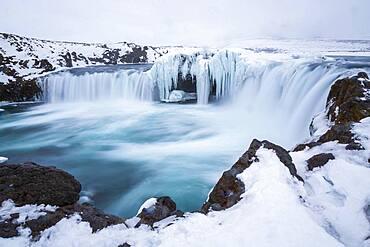 Frozen Godafoss, Iceland, Europe