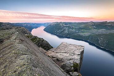 Rock Pulpit Preikestolen at the Lysefjord, evening mood, Rogaland, Norway, Europe
