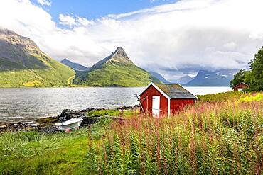 Boat cabins by the fjord, Lyngenfjord, Troms og Finnmark, Norway, Europe