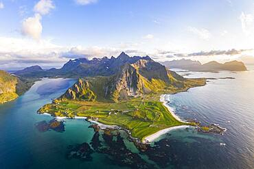 View of Flakstad and the beach of Skagsanden, mountains and fjord, aerial view, Lofoten, Norway, Europe
