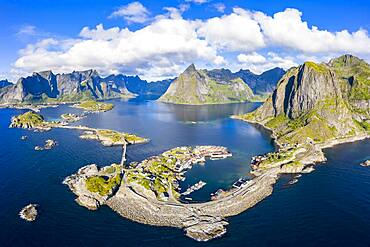 View of islands, fjord and mountains, fishing villages Hamnoy, Sakrisoy and Reine, Reinefjord, Lofoten, Norway, Europe