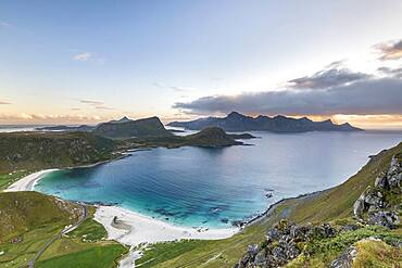 View to the beach of Haukland, mountains and fjord, Leknes, Lofoten, Norway, Europe