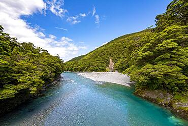 River, Makarora River, Blue Pools, turquoise crystal clear water, Haast Pass, West Coast, South Island, New Zealand, Oceania