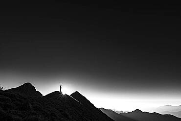 Mountaineer on summit ridge with backlight, in the background Ammergau Alps, Reutte, Ammergau Alps, Tyrol, Austria, Europe