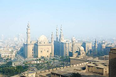 The mosque and madrassa of sultan Hassan, view from the Citadel of Cairo, Egypt, Africa