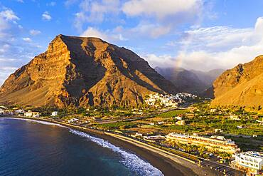 Beach between La Playa and La Puntilla, behind La Calera, rainbow, Valle Gran Rey, drone shot, La Gomera, Canary Islands, Spain, Europe