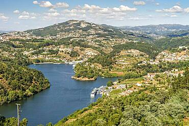 Hilly landscape on the Douro River, Douro Valley, Porto Region, Portugal, Europe