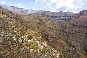 Settlement La Manteca, Barranco de la Negra, near Alajero, drone image, La Gomera, Canary Islands, Spain, Europe