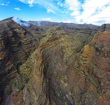 Whimsically eroded gorge, Barranco de la Negra, near Alajero, drone image, La Gomera, Canary Islands, Spain, Europe